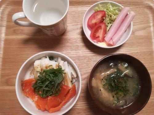 サーモン丼、味噌汁、サラダ