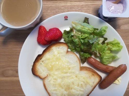 食パンにチーズ、サラダ、いちご