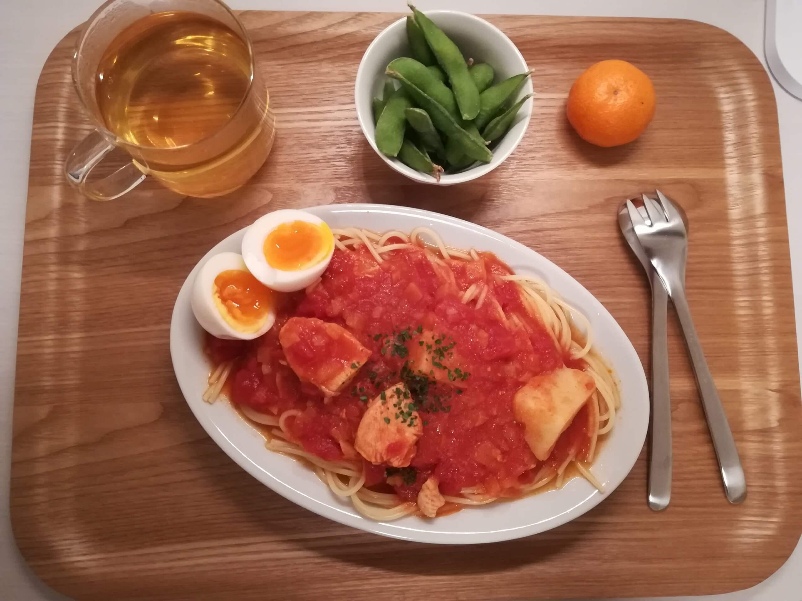 1月の食費/キウイサンド/トマトソースパスタ
