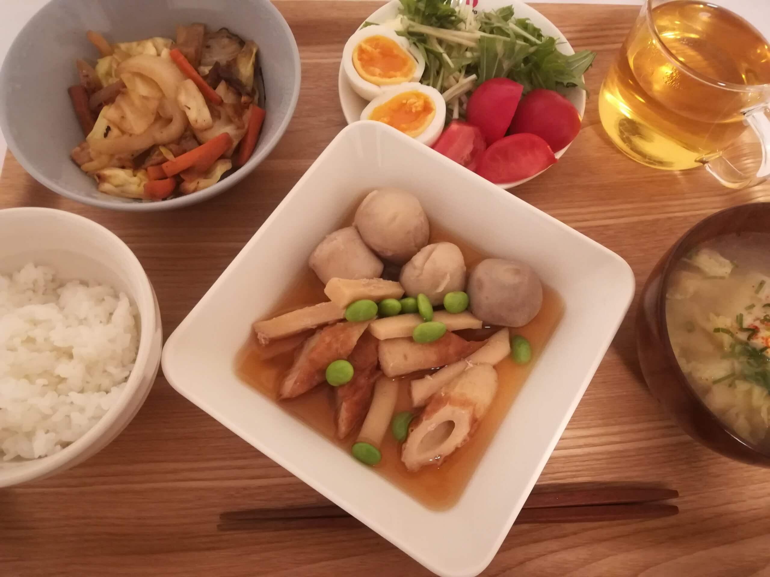 シナモンシュガートースト/イカと里芋の煮物/マルセイバターサンド